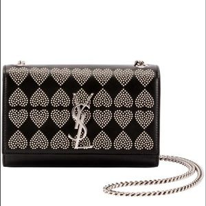 Saint Laurent Monogram Kate Sm Heart Studded Bag